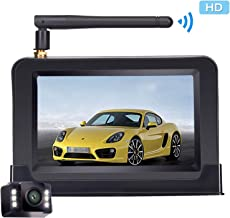 Yakry Backup Camera Wireless 4.3'' Monitor Kit for Car/SUV/Minivan Waterproof License Plate Rear View /Front View Camera 6 White Light LED Night Vision Guide Lines ON/OFF