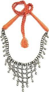 Orange Thread Oxidised Silver Necklace Princess Choker for Women Fashion Jewelry Silver Finish Ghungroo Beads Embellishment Jewellery