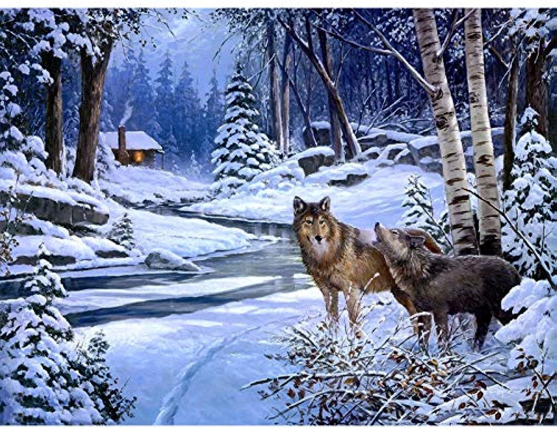 Agolong Schnee-Wolf-Tiere DIY Malen nach Zahlen Moderne Wandkunst Bild Acrylfarbe für einzigartiges Geschenk auf Wandkunst Mit Rahmen 40x50cm B07MMKBZPL   Verrückte Preis
