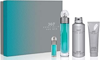 Perry Ellis 360 By Perry Ellis for Men - 4 Pc Gift Set 3.4oz Edt Spray, 6.8oz Deodorizing Body Spray, 3.0oz Shower Gel, 0.25oz Edt Spray, 4count