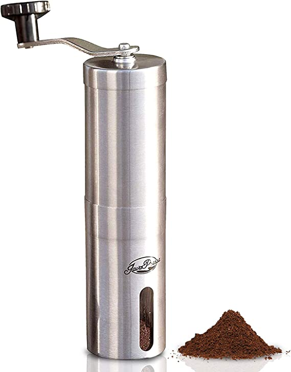 JavaPresse Manual Coffee Grinder with Adjustable Setting - Conical Burr Mill & Brushed Stainless Steel - Burr Coffee Grinder for Aeropress
