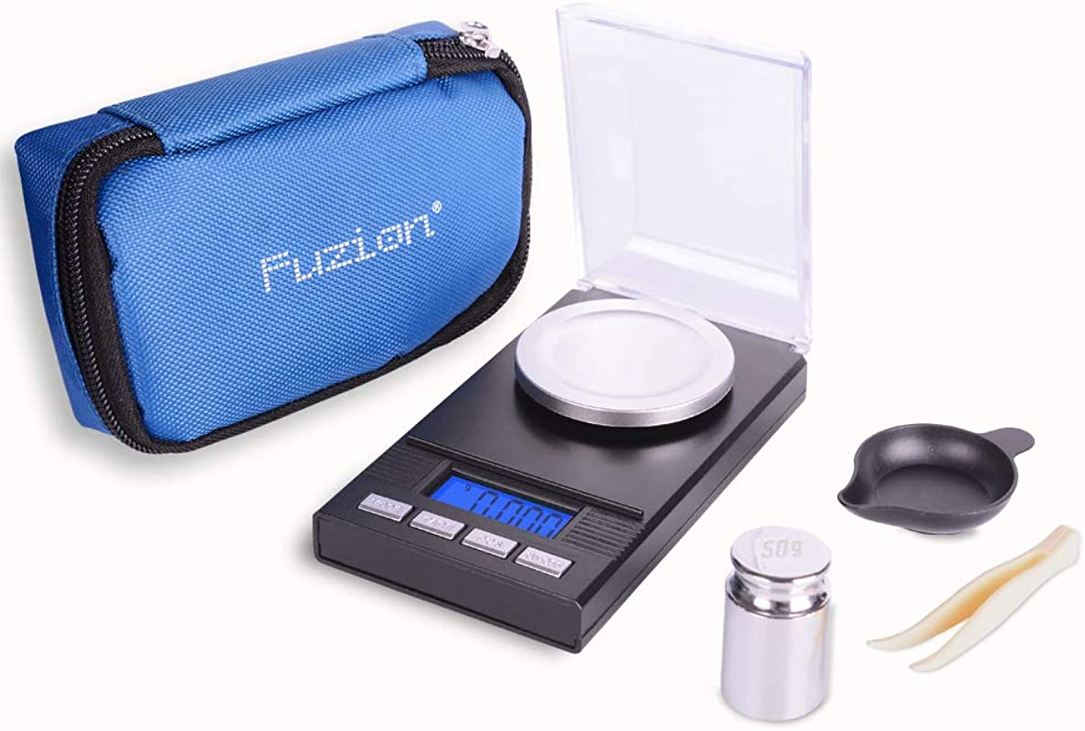 Fuzion Digital Milligram Scale 50g 0 001g Portable Jewelry Scale With LCD Backlit Tare For Powder Food Gem Reloading Batteries Included