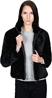 OBURLA Women's Real Rex Rabbit Fur Bomber Jacket | Fur Coat with Genuine Leather Accented Zipper - Black