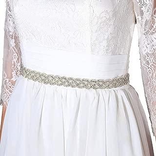 Aukmla Lvory Bridal Belt Wedding Sash Acrylic Crystal Waist Belts for Brides and Bridesmaids belt-04
