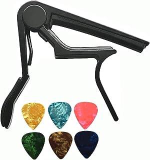 ريشة جيتار من دايجتري جيتار صوتي بمشبك اكسسوارات جيتار مفتاح مشبك العزف اداة جيتار باللون الاسود مع عدد 6 قطع من ريشة الجيتار