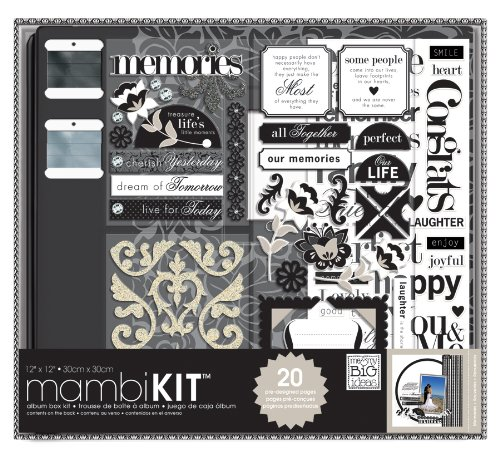 me & my BIG ideas Scrapbooking Box Kit, Black and White, Neutral Memories, 12-Inch by 12-Inch