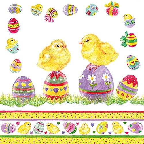 Tovaglioli pasquali, motivo: pulcini su uova, 3 veli, 33 x 33 cm