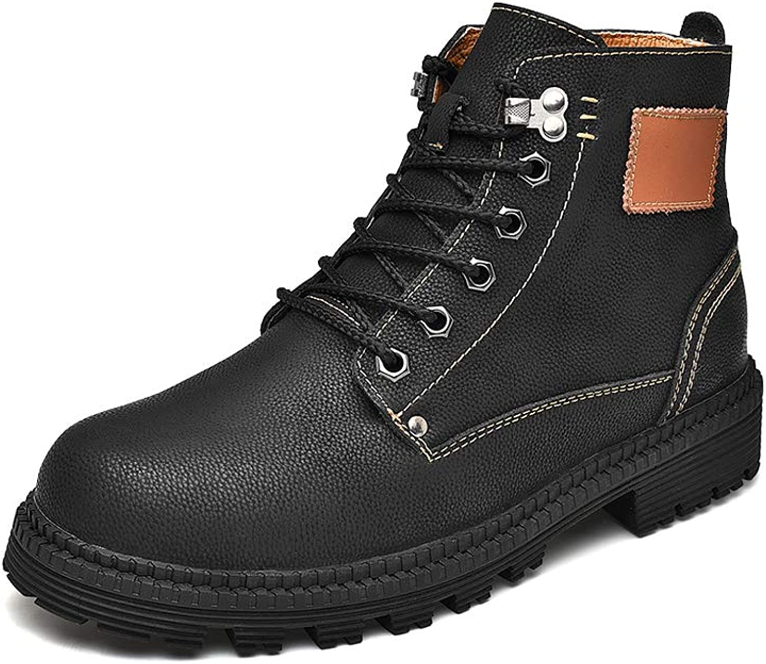 Men's Non-Slip Casual Boots Plus Velvet Retro Martin Boots Breathable High Help Oxford Boots Outdoor Front tie Work Boots