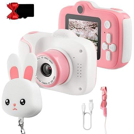 Etpark appareil photo enfants, Mini Numérique Caméra pour Enfant Caméras avant et arrière vidéo Caméra selfie enfant 12 Mpixels Caméra 2 pouces HD 1080P Carte SD 32G pour filles 3-10 ans