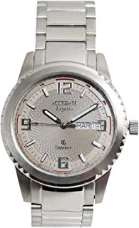 Casual Watch for Men by Accurate, Silver, Round, AMQ1741