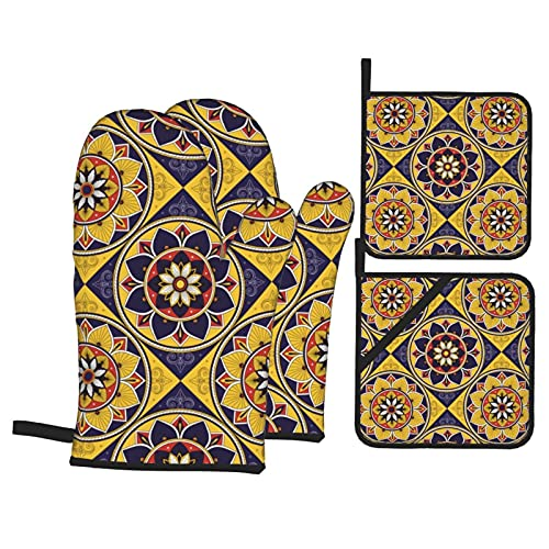 Feartdiy Oven Mitts and Pot Holders Sets of 4,Mosaic Motifs Pattern Heat Resistant Kitchen Cooking...