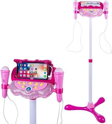 Mikrofon Kinderspielzeug Mikrofon Karaoke mit Ständer Karaokemaschinen Blau