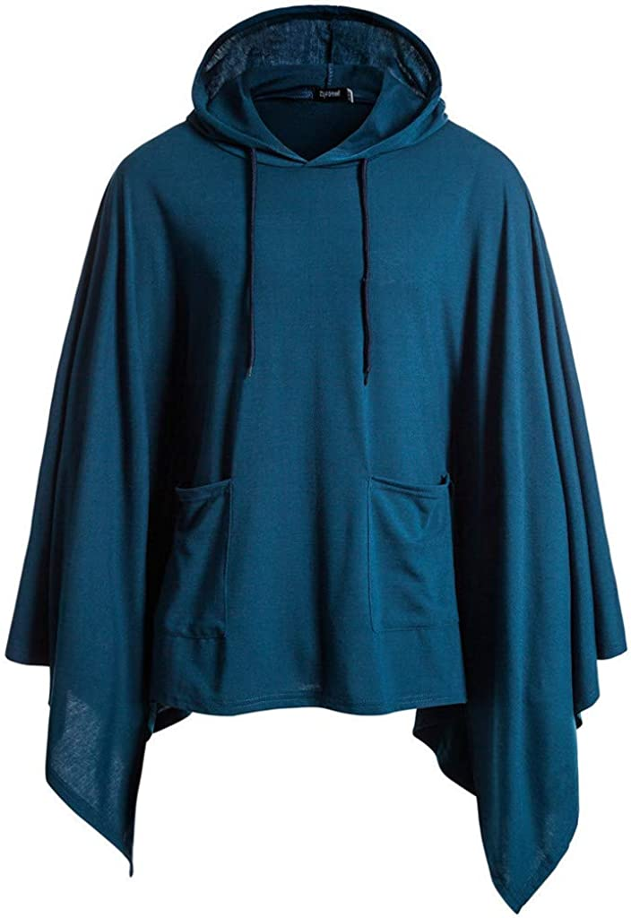 Men's Cloak Cape Coat Clearance Mens Casual Long Sleeve Solid Irregular Pullover Outwear Hooded Sweatshirts with Pockets