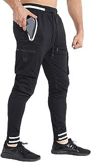 BROKIG Mens Tapered Workout Sweatpants-Causal Gym Jogger Pants Cargo Zip Pockets