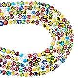 PandaHall Cuentas de cristal Millefiori de 5 filamentos de disco plano de 6 x 4 mm, cuentas de cristal con una sola flor para hacer joyas, colores mezclados al azar