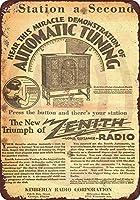 ブリキ看板1920ゼニスラジオヴィンテージルック再生金属サインメイドUSAコレクティブルウォールアート
