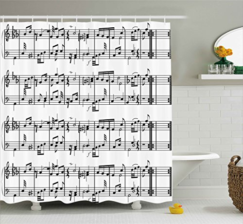 """Ambesonne Music Shower Curtain, Musical Notes on The Clef Illustration Ornamental Pattern Artwork Print, Cloth Fabric Bathroom Decor Set with Hooks, 70"""" Long, Black White"""