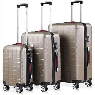 A13 Set de valises rigides /à 4 roulettes Taille M L et XL Or champagne M Handgep/äck