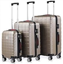 Set de 3 valises rigides Champagne Or 4 Roues 360° Bagage 2 poignées de Transport Plastique ABS Serrure Cadenas à Combinaison Malle Voyage léger Vacances