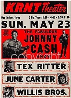 Gatsbe Exchange Johnny Cash and June Carter Musician Concert Poster Rock and Roll Legends Live Forever 12 X 18
