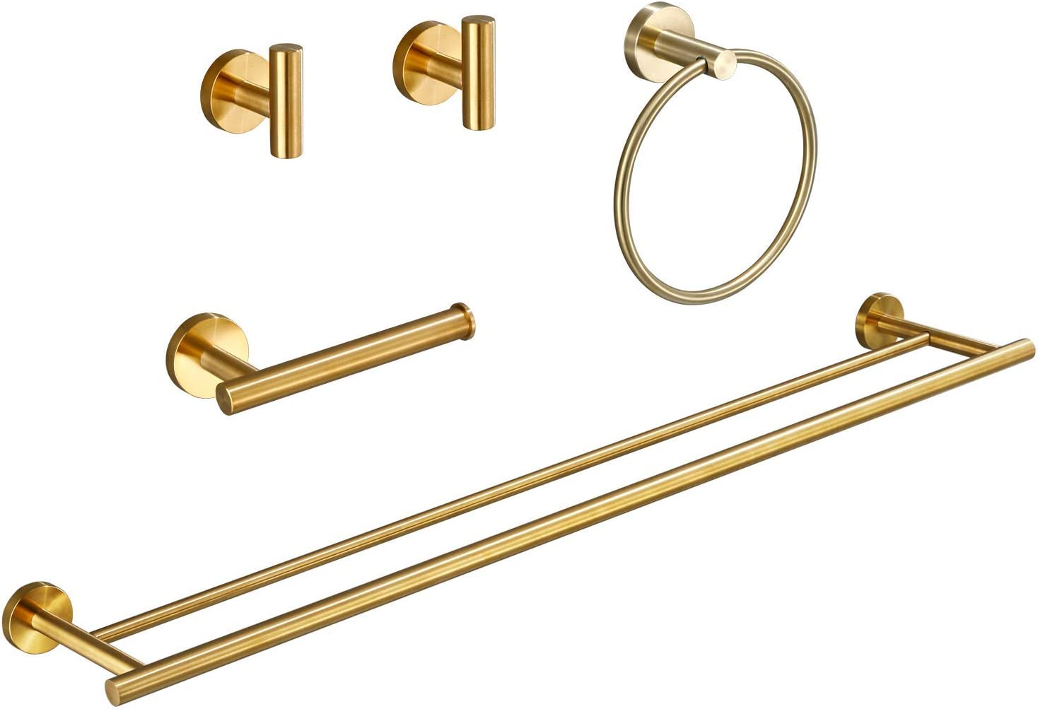 USHOWER Brushed Gold Bathroom Hardware Set, Modern Style Bathroom Accessories Kit, Includes 24 Inch Double Towel Bar, 5 Piece: Kitchen & Dining