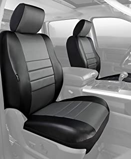 Fia SL68-32 GRAY Custom Fit Front Seat Cover Bucket Seats - Leatherette (Black w/Gray Center Panel)