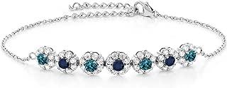 Gem Stone King 925 Sterling Silver 1.55 Ct Round London Blue Topaz Sapphire Tennis Bracelet