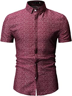 Qiyun Autumn Shirt Men's Short-Sleeved Shirt Summer Clothing Fashion Top Turndown Collar Floral Pattern