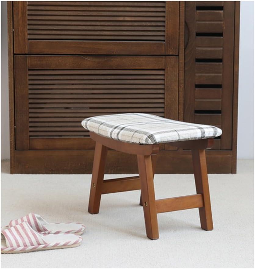 SLL- Tabouret en bois massif for les chaussures de ménage tabouret petit banc de tissu banc Fauteuils et Chaises (Color : A) D