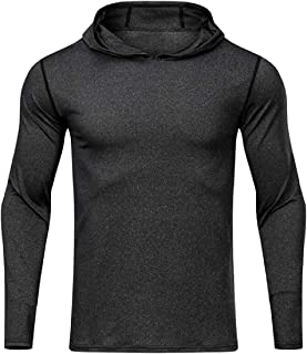 UUYUK Men's Long Sleeve Uv Protect T Shirts Casual Hooded Athletic Top Performance