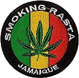 Écusson Feuille Cannabis Vert Jaune Rouge Fumer Rasta Jamaique Patch Hippie Paix...