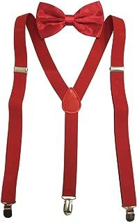 Solid Color Mens Suspender Bow Tie Set Clip On Y Shape Adjustable Braces