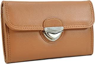 MKP Wallet for Women PU Leather Credit Card Holder Trifold Checkbook Organizer Zipper Coin Purse w/Buckle Snap Closure (Tan)