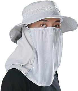 サンキャップフラップ帽子UV 360°日よけ保護シェード帽子取り外し可能なネック&フェイスフラップカバーキャップ用男性女性夏バックパッキングサイクリングハイキングフィッシングガーデン
