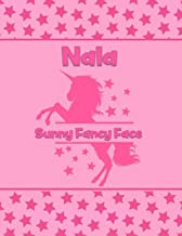 Nala Sunny Fancy Face: Personalized Draw & Write Book with Her Unicorn Name - Word/Vocabulary List Included for Story Writing