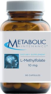 Metabolic Maintenance L-Methylfolate 10mg - High Dose Active Folate (L-5-MTHF) + Glycine Supplement - B Vitamin for Mood, ...