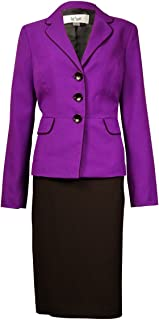 Le Suit Women's Monte Carlo Contrast-Trim Pocket Skirt Suit