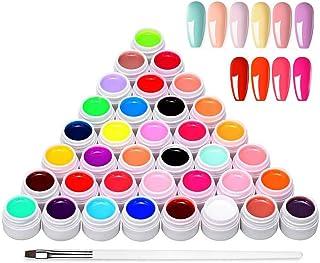 Anself Esmaltes Semipermanentes de Uñas Gel Uñas 36 Colores Juego de Pigmentos para Uñas Poli Gel UV Esmalte Pegamento só...