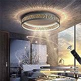 VOMI Modern LED Deckenleuchte Dimmbar Schwarz Gold Kreativ Aushöhlen Design Wohnzimmer Deckenlampe mit Fernbedienung, Stufenloses Dimmen Schlafzimmer Büro Deckenleuchten, Metall Und Acryl,A,Ø42cm