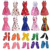 Momola 10 Pack de poupée vêtements robe de soirée tenues avec 10 paires de chaussures de poupée beau cadeau agréable pour votre petite fille