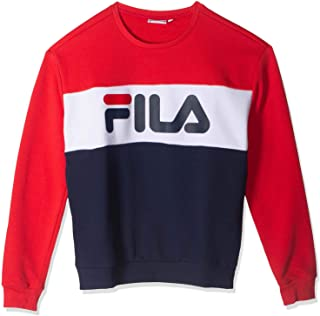 FILA Women's Leah Crew Sweatshirt, Multicolour (Black Iris/True Red/Bright White), Small