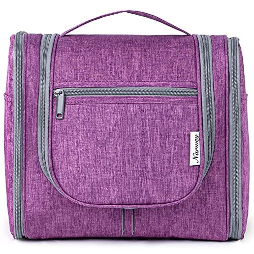 Bolsa de aseo colgante de viaje, organizador cosmético de maquillaje, para mujeres, niñas y niños, A-purple (Large),