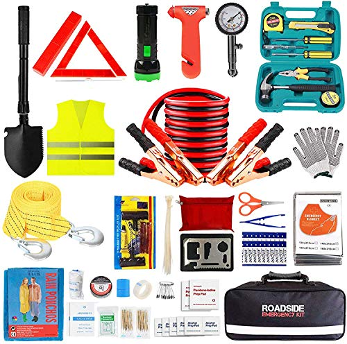 Car Emergency Roadside Tool Kit with Jumper Cable,Auto Truck Automotive Vehicle Assistant Bag for Men Women with First Aid Kit,Automobile SUV RV Winter Safety Road Travel Kit with Flashlight Shovel