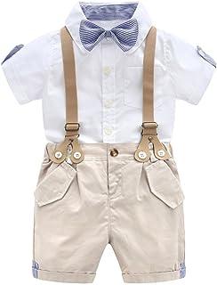 G-Kids Baby Jungen Smoking Strampler Gentleman Sommer Kleidung Anzug Kurz Fliege Jumpsuit Outfit mit Abnehmbare Hosenträger