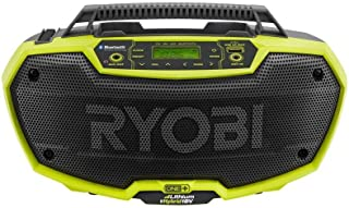 Ryobi P746 One+ 18-Volt Lithium Ion/AC Dual-Powered AM/FM Stereo System with USB and Bluetooth Technology (Battery, Charger, and Extension Cord Not Included/Radio Only)