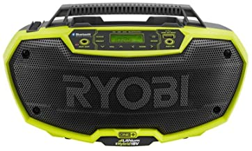 Ryobi P746 One+ 18-Volt Lithium Ion / AC Dual-Powered AM/FM Stereo System with USB and..