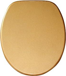 Abattant WC - Finition de haute qualité - Charnières robustes - Fixation facile - Or Scintillement