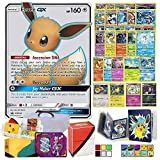 Totem World Eeveelution with Totem Storage Case, Collectors Binder Album & Deck Box, Includes 1 Ultra Rare, 3 Eevee Evolutions, 1 Basic Eevee, 10 Rares and 10 Foil Cards Compatible for Pokemon Cards