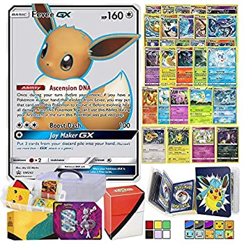 Totem World Eeveelution Card Ultra Rare GX Lot with Totem Storage Case Collectors Binder Album & Deck Box Includes 1 GX/EX 3 Eevee Evolutions 1 Basic Eevee 10 Rares and 10 Foil Cards