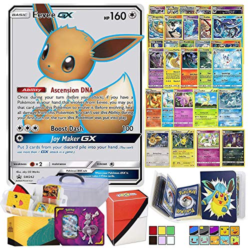 Totem World Eeveelution Card Ultra Rare GX Lot with Totem Storage Case, Collectors Binder Album & Deck Box, Includes 1 GX/EX, 3 Eevee Evolutions, 1 Basic Eevee, 10 Rares and 10 Foil Cards